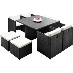 Rattan 4 Armchair 115cm Square Dining Table Cube Set with Footstools - Black