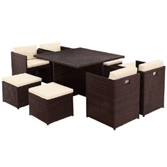 Rattan 4 Armchair 115cm Square Dining Table Cube Set with Footstools - Dark Brown
