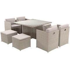 Rattan 4 Armchair 115cm Square Dining Table Cube Set with Footstools - Light Grey