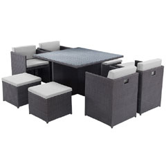 Rattan 4 Armchair 115cm Square Dining Table Cube Set with Footstools - Dark Grey