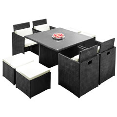 Rattan 4 High Back Armchair 115cm Square Dining Table Cube Set with Footstools - Black