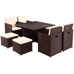 Rattan 4 High Back Armchair 115cm Square Dining Table Cube Set with Footstools - Dark Brown