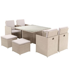 Rattan 4 High Back Armchair 115cm Square Dining Table Cube Set with Footstools - Light Grey