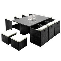Rattan 6 Armchair 173cm Rectangular Dining Table Cube Set with Footstools - Black