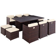 Rattan 6 Armchair 173cm Rectangular Dining Table Cube Set with Footstools - Dark Brown
