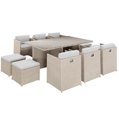 Rattan 6 Armchair 173cm Rectangular Dining Table Cube Set with Footstools- Light Grey