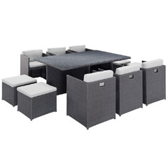 Rattan 6 Armchair 173cm Rectangular Dining Table Cube Set with Footstools - Dark Grey