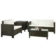 Rattan 2 and 3 Seater Sofas with 90cm Coffee Table and Corner Table Set - Brown