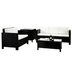 Rattan 2 and 3 Seater Sofas with 90cm Coffee Table and Corner Table Set - Black