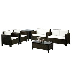 Rattan 2 Chairs and 2 Seater Sofas with 90cm Coffee Table and Corner Table Set - Brown
