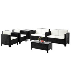 Rattan 2 Chairs and 2 Seater Sofas with 90cm Coffee Table and Corner Table Set - Black