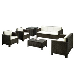 Rattan 2 Chairs, 2 and 3 Seater Sofas with 90cm Coffee Table and Corner table Set- Brown