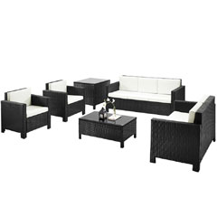 Rattan 2 Chairs, 2 and 3 Seater Sofas with 90cm Coffee Table and Corner table Set - Black