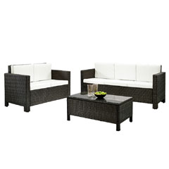Rattan 2 and 3 Seater Sofas with 90cm Table Set - Brown