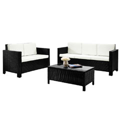 Rattan 2 and 3 Seater Sofas with 90cm Table Set - Black