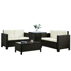 Rattan 2 x 2 Seater Sofas with 90cm Coffee Table and Corner Table - Brown