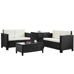 Rattan 2 x 2 Seater Sofas with 90cm Coffee Table and Corner Table - Black