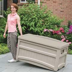 Suncast Resin Deck Box with Seat & Wheels 117cm