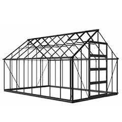 Eden Bourton Zero Threshold Black Frame Greenhouse - Long Pane Toughened Glass