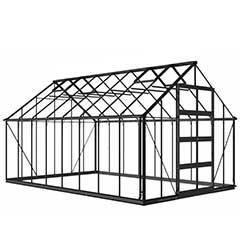 Eden Bourton Zero Threshold Black Frame Greenhouse - 6mm Polycarbonate Glazing