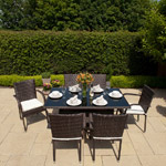 Greenfingers Rattan Rectangular Garden Furniture Set - 150cm Black/Coffee