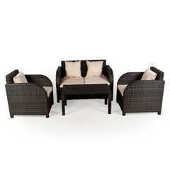 Ellister Eden Rattan 4 Seater 123cm Rectangular Sofa Set
