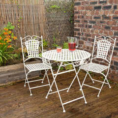 Greenfingers Steel 2 Folding Chair 70cm Round Bistro Set