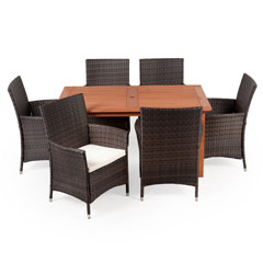 Greenfingers Moncafa 6 Rattan Armchair & 150cm Wooden Rectangular Table Dining Set