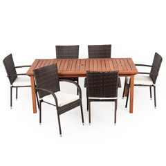Greenfingers Jersey 6 Rattan Armchair & 180cm Wooden Rectangular Table Dining Set