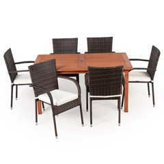 Greenfingers Jersey 6 Rattan Armchair & 150cm Wooden Rectangular Table Dining Set