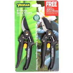 Yeoman Advanced Bypass Secateurs with FREE Anvil Secateurs