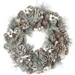 Festive Silver Cone Wreath with White Berries 35cm