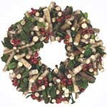 Festive Natural Twig Wreath with Leaves & Berries 31cm