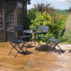 Kingfisher Rattan Effect 4 Chair 80cm Round Patio Set