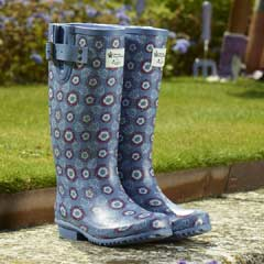 Briers Historic Palaces Tudor Rose Rubber Wellies - Blue