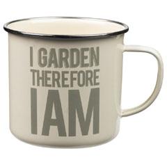 Thoughtful Gardener Enamel Mug - I Garden Therefore I Am