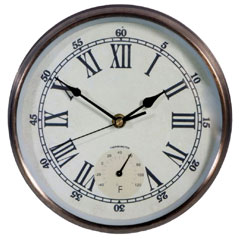 Town & Country Weathereye Outdoor Clock & Thermometer 9in