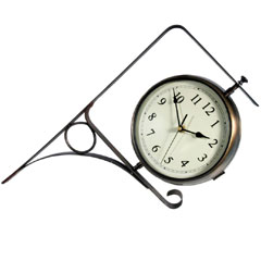 Town & Country Outdoor Dual Faced Bracket Clock and Thermometer 8in