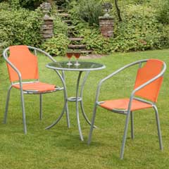 Bambi Citrus Aluminium 2 Armchairs 60cm Circular Bistro Set - Orange