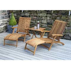 Pacific Paleros Acacia 2 Sunbed with Square Table Lounging Set