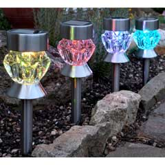 Smart Garden Crystal Glass Solar Stake Lights - Set of 4