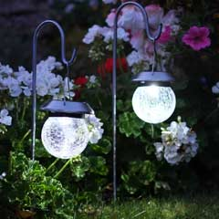 Smart Garden Shepherds Crook Crackle Globe Solar Lanterns - Set of 2