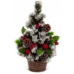 Christmas Tabletop Tree with Pine & Berries in Basket 45cm