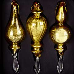 Christmas Baubles Gold Droplets - Set of 3