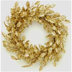 Christmas Gold Glitter Holly Berry Wreath - 50cm