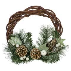 Christmas Rattan Snowberry Wreath - 40cm
