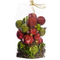 Christmas Baubles Red/Green Selection - Set of 24