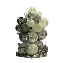 Christmas Baubles Silver/White Selection  - Set of 24