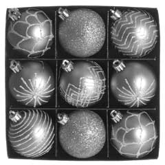 Christmas Baubles Silver & White Glitter Design - Set of 9