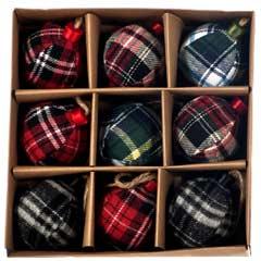 Christmas Baubles Assorted Tartan Design - Set of 9